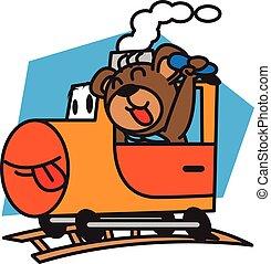 vetorial, trem, urso