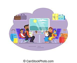 vetorial, trem, viajando, ilustração, pessoas