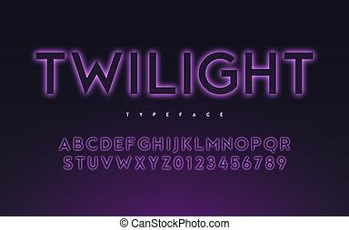 vetorial, trendy, luz néon, ou, eclipse, estilo, glowing,...