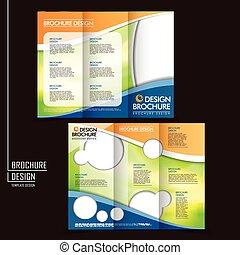 vetorial, tri-fold, negócio, folheto, esquema, desenho,...