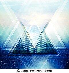 vetorial, triangulo, fundo, abstratos, futuro