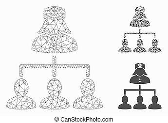 vetorial, triangulo, hierarquia, 2d, pacientes, malha, enfermeira, modelo, mosaico, ícone