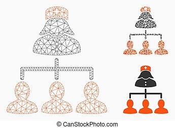 vetorial, triangulo, rede, conexões, pacientes, malha, enfermeira, modelo, mosaico, ícone