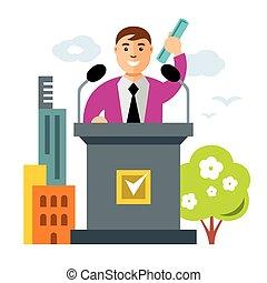 vetorial, tribuna, speaker., apartamento, estilo, coloridos, caricatura, ilustração