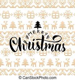 vetorial, tricotado, seamless, padrão, com, lettering, feliz, natal., feliz, feriados, pixel, infinito, tracery.