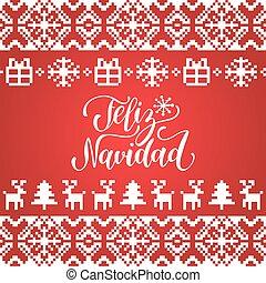 vetorial, tricotado, seamless, padrão, com, lettering, feliz, navidad, translated, feliz, natal., feliz, feriados, pixel, frame.
