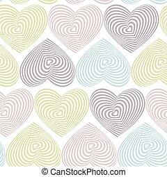 vetorial, tridimensional, doodle, volume., seamless, óptico, padrão experiência, corações, branca, ilusão, 3d