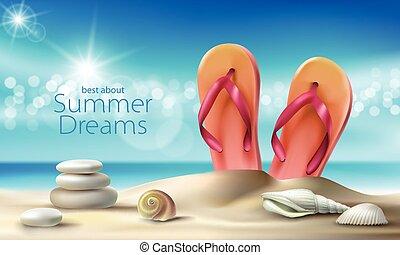 vetorial, turquesa, fundo, com, verão, praia arenosa, seashells, seixos, e, praia, chinelos