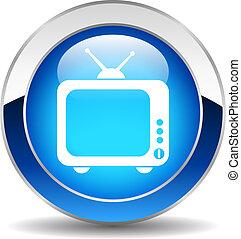 vetorial, tv, botão