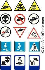vetorial, ufo, collection., 2, sinais, parte, estrada