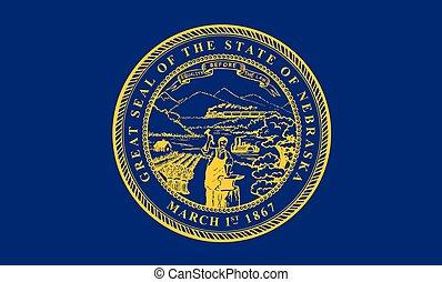 vetorial, unidas, illustration., flag., estados, america., nebraska