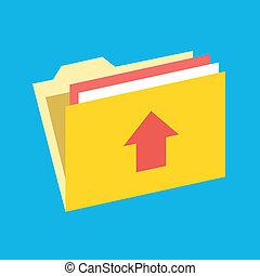 vetorial, upload, pasta, ícone