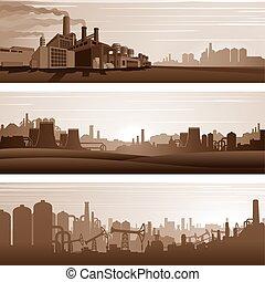 vetorial, urbano, industrial, paisagens, fundos