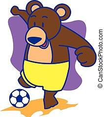 vetorial, urso, playng, futebol