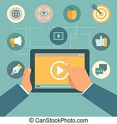 vetorial, vídeo, marketing, conceito, em, apartamento,...