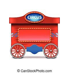 vetorial, vagão, branca, circo, isolado