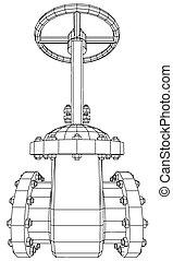 vetorial, valve., industrial, 10., traçado, gás, eps, ilustração, equipamento, óleo, 3d
