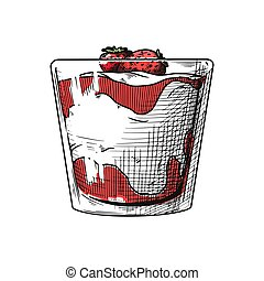 vetorial, vase., ilustração, creme, esboço, gelo, realístico