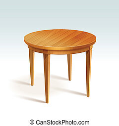 vetorial, vazio, redondo, madeira, tabela