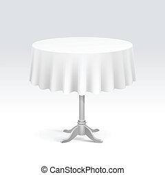 vetorial, vazio, tabela redonda, com, toalha de mesa
