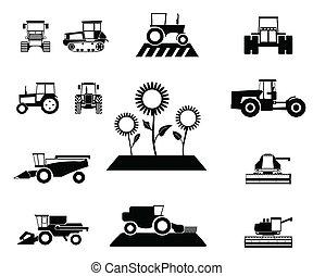 vetorial, veículos agrícolas, jogo
