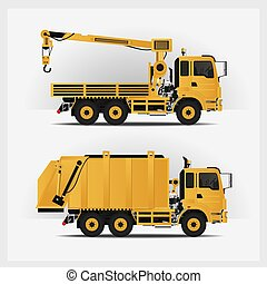 vetorial, veículos, construção, ilustração