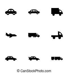 vetorial, veículos, jogo, pretas, ícones