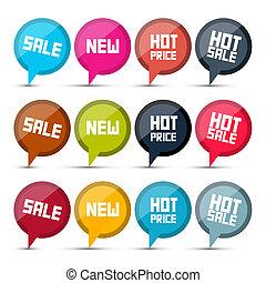 vetorial, venda, etiquetas, jogo, branco, fundo