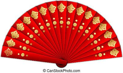 vetorial, ventilador, ilustração, vermelho