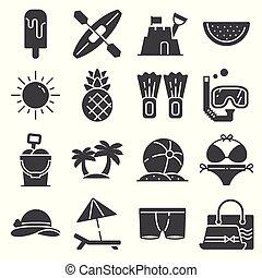 vetorial, verão, cinzento, fundo branco, jogo, ícones