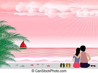 vetorial, verão, conceito, amor, valentines, mulher, fundo, praia, dia, seashore., homem