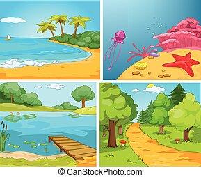 vetorial, verão, jogo, caricatura, backgrounds.