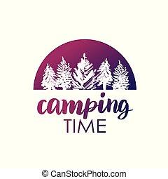 vetorial, verão, ou, conceito, silueta, camisa, lettering, texto, acampamento, logotype, tipografia, stamp.., badge., desenho, floresta, vindima, impressão, logotipo, illustration.