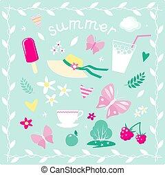 vetorial, verão, tema, jogo, elementos