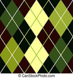 vetorial, verde, argyle, padrão