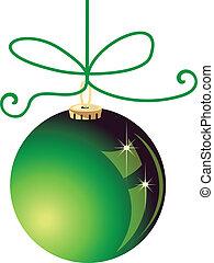 vetorial, verde, bola natal, estoque