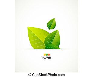 vetorial, verde, conceito, folha