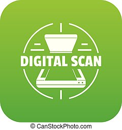 vetorial, verde, digital, ícone, varredura