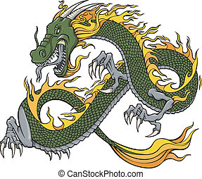 vetorial, verde, ilustração, dragão