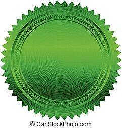 vetorial, verde, ilustração, selo