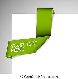 vetorial, verde, papel, origami, fita