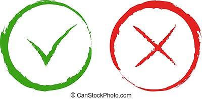 vetorial, verde, sim, e, vermelho, não, checkmark, sinais