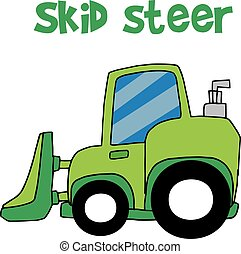vetorial, verde, skid, boi, caricatura