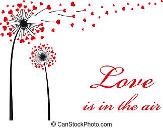 vetorial, vermelho, corações, dandelion