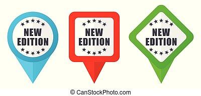 vetorial, vermelho, fácil, ponteiros, editar, marcadores, novo, fundo, icons., isolado, jogo, sinal, branca, verde azul, coloridos, edição, localização