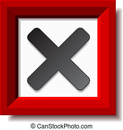vetorial, vermelho, negativo, checkmark