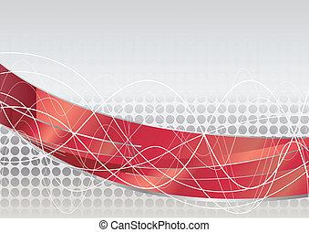 vetorial, vermelho, tech, fundo