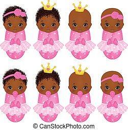 vetorial, vestido, americano, meninas, bebê, princesa, africano, cute