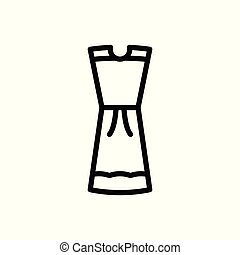 vetorial, vestido branco, isolado, icon., experiência., esboço, illustration.