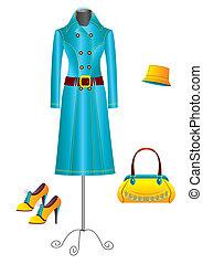 vetorial, vestido, mulher, white.fashion, roupas